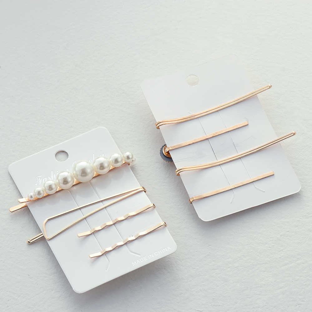 Korea Metal Hair Clips Fashion Pearl Hairpins Set for Women Irregular Geometric Barrette Hairgrip Hair Styling Accessories