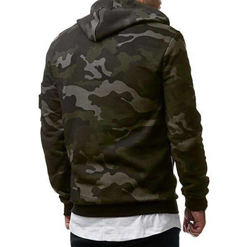Camouflage พิมพ์ Hoodies ชาย Hip Hop Drawstring Pullovers Moletom Streetwear ลำลอง Sudadera Hombre Full Hoody