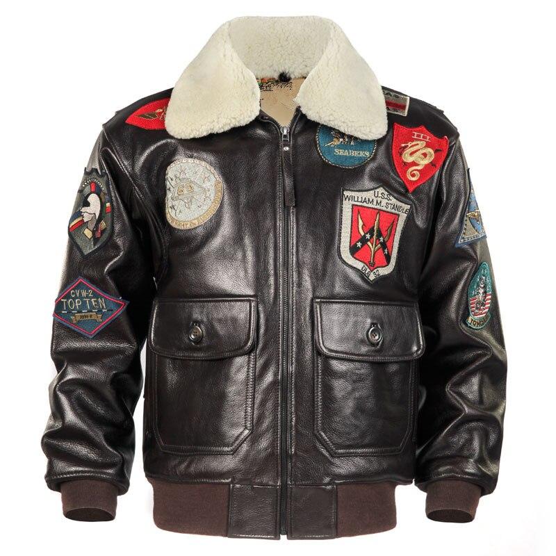 HARLEY PRUNE Marron Hommes Top Gun Pilote Veste En Cuir Laine Col Europe Taille Véritable de Vachette Épaisse En Cuir Aviateur Manteau