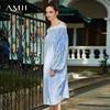 Amii Women Minimalist Dress 2018 Stripe Slash Neck Lantern Sleeve Female Dresses