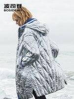 BOSIDENG 2018 новый стиль зима длинное пальто женские металл серебристо голубой внутри молнии водонепроницаемый модная Высококачественная обув