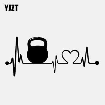 YJZT 15.1CM * 6.5CM moda Kettlebell Lifeline Heartbeat Vinyl czarny/srebrny samochód naklejki C22-1077