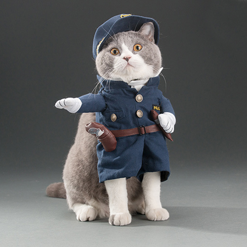 Funny Cat Outfits Pet Costumes Cats Suit Spring and Summer Puppy Dog Clothes Police Fashion Best Selling