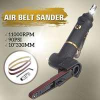 10x330mm Pneumatic Air Belt Sander Machine Grinding 16000rmp Polishing Tools with 2 Sanding Belts For Air Compressor