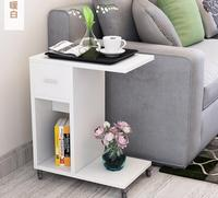 51*30*62CM Modern Bedside Table Mobile Sofa Side Table Living Room Storage Cabinet With Drawer & Wheels
