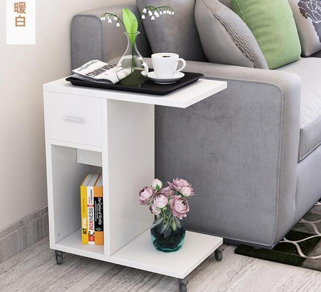 Side Tables Living Room Wall Colors With Brown Sofas 51 30 62cm Modern Bedside Table Mobile Sofa Storage Cabinet Drawer Wheels