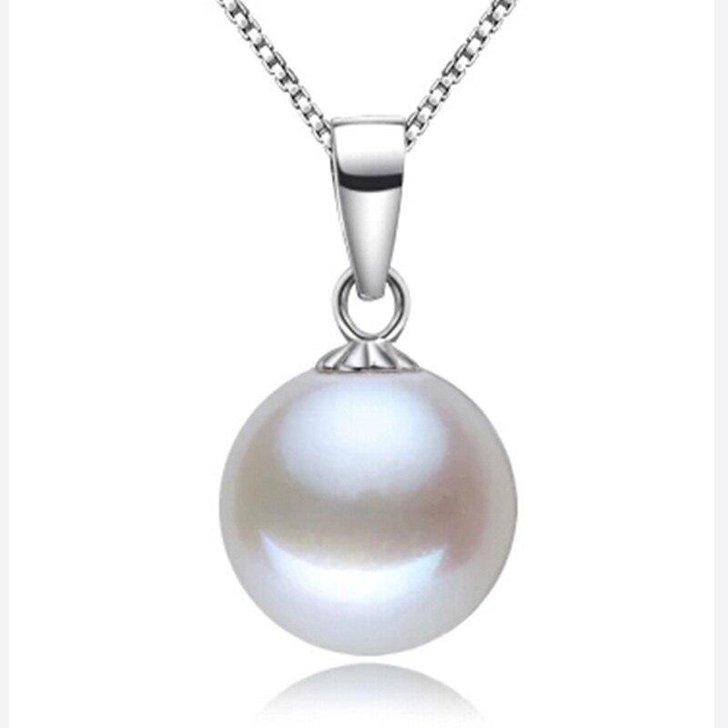 10mm AAAA Top qualité 100% vraie Nature perle d'eau douce et 100% colliers et pendentifs en argent Sterling viennent avec boîte à bijoux