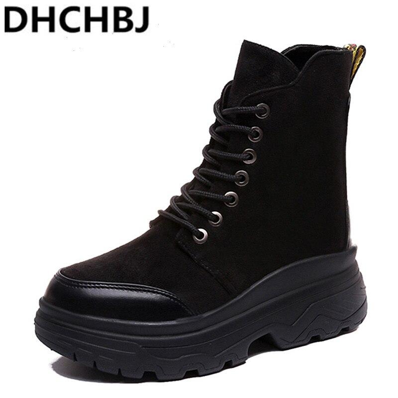 Round Toe Women Boots Black Military Combat Boots Winter Platform Shoes Woman Flat Ladies Booties Bottes Femme