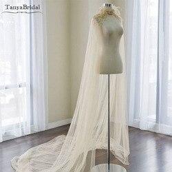 الشمبانيا الفاخرة الزفاف الرأس الدانتيل مطرز و الريشة أنيقة الزفاف شال 2 m طول تول الزفاف التفاف مخصص DJ008