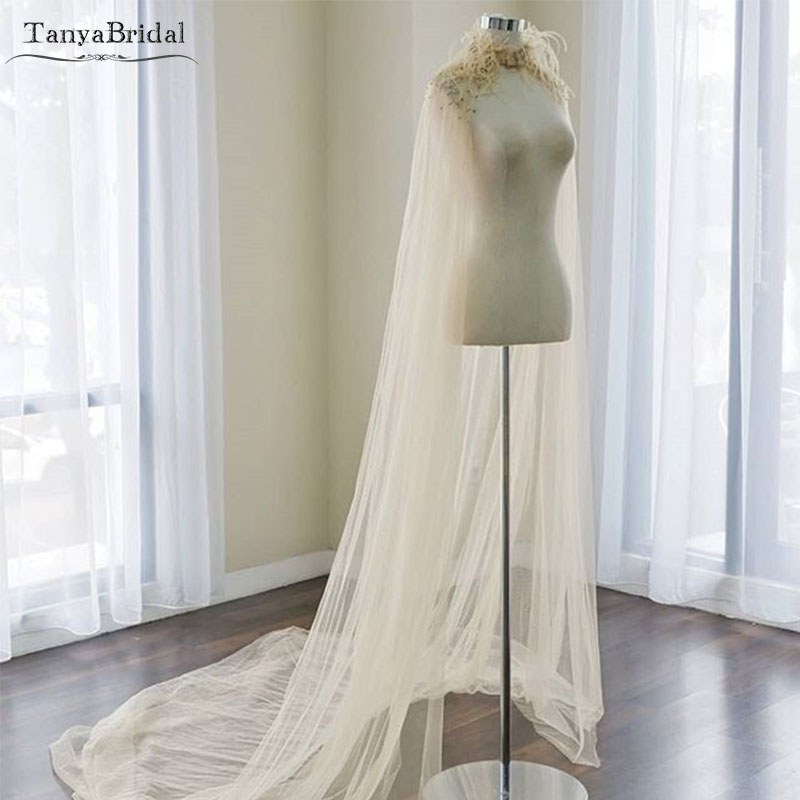 Champagne Luxury Wedding Cape Lace Beaded And Feather Elegant Bridal Shawl 2m Length Tulle Wedding Wrap Custom Made  DJ008