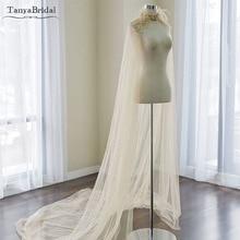 Champagne Luxury Wedding Cape Lace Beaded and feather Elegant Bridal Shawl 2m Length Tulle Wrap Custom made  DJ008