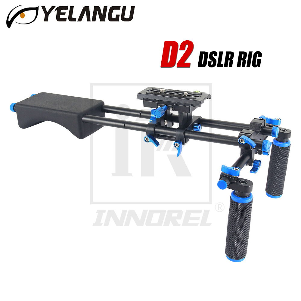 цена на YELANGU D2 DSLR Rig 5D2 5D3 6D 70D D800 Camera Mount Head Handheld Video Shoulder Support System 15mm Rod Clamp Bracket Stand