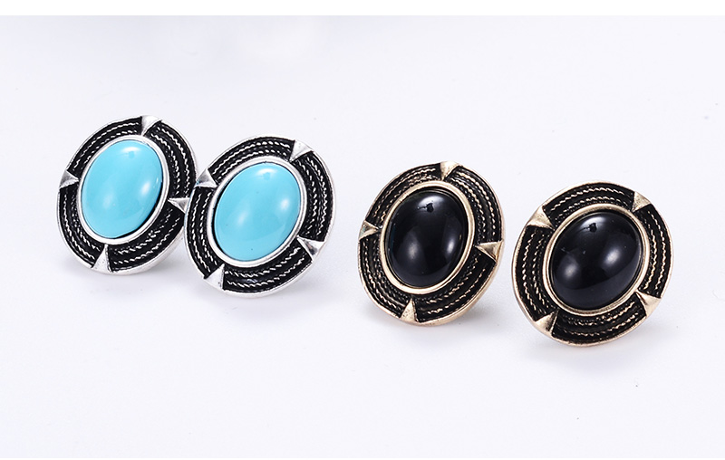 New Design Vintage Round Earrings Woman Big Resin Black Stone Brincos Grande 2018 Fashion Jewelry Gift in Stud Earrings from Jewelry Accessories