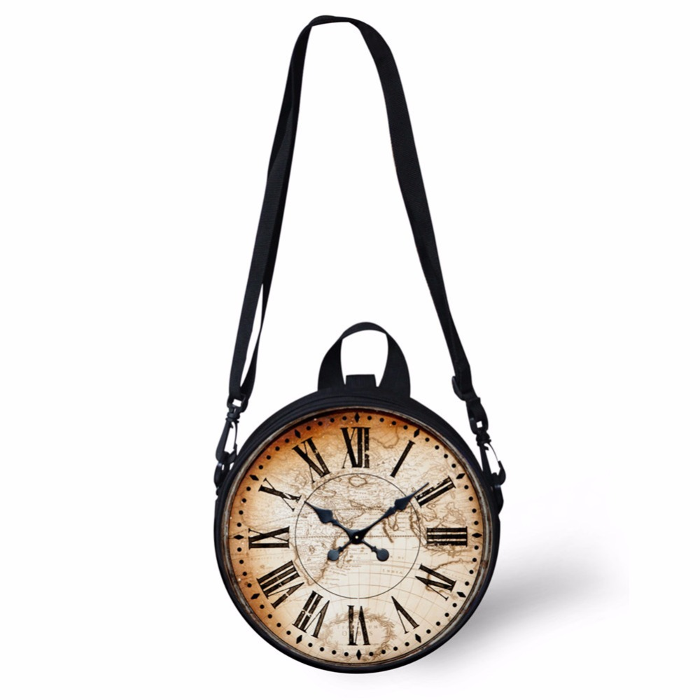 FORUDESIGNS Fashion Clock Bag Mini Girl Boy Round Cute Print Women Shoulder Sac Circle Crossbody Pack Purse Wholesale