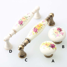 96mm fashion ivory white dresser door handle rural painting ceramic cabinet drawer knob pull 3.75″ retro furniture door handle