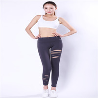 New yogaing trousers clothes female Sexy jeans summer campaign tight elastic irregular hole fitness fast pants High Waist Sexy