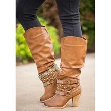 XingDeng kobiety długie nity Bukle cienkie buty na obcasie buty damskie Western Cowboy wysokie obcasy motocykl Pu skórzane buty buty 34-43 tanie tanio Podkolanówki Szpiczasty nosek Slip-on Plac heel Zachodnia Wysoka (5 cm-8 cm) Dla dorosłych