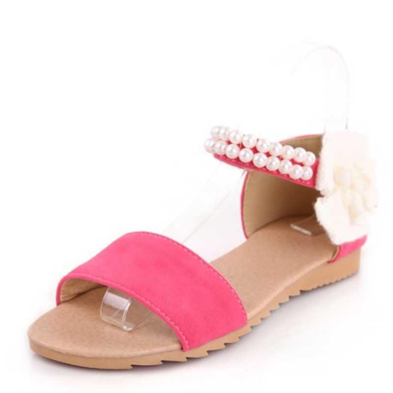 Big size 34-43 Women Sandals Fashion Bohemia Little Flower Decoration Beaded Ankle Straps Open Toe Platform Summer Shoes Flats губная помада zao essence of nature перламутровая 403 фуксия
