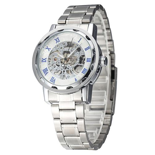 Fashion Top Brand Luxury Men Skeleton Roman Numerals Hollow Dial Stainless Steel Band Mechanical Watch automatic watch  Fashion Top Brand Luxury Men Skeleton Roman Numerals Hollow Dial Stainless Steel Band Mechanical Watch automatic watch