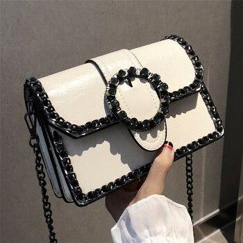 Moda Retro Kadın Elmas çanta 2018 Yeni kadın Tasarımcı Çanta Kaliteli PU Deri Kadın çanta Zincir omuz askılı postacı çantaları