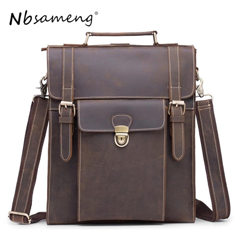 NBSAMENG 2018 Genuine Leather Men Backpack Vintage Laptop Bagpack Designer Travel School Business Bag Mochila swiss backpack women 15 6 laptop bag men casual business travel waterproof black stylish mochila feminina bagpack sw6017v