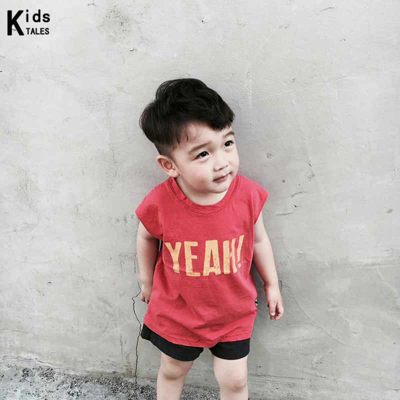 T-Shirt Sleeveless Children Tees Printed Fashion Cotton Summer New Letter with RW-151