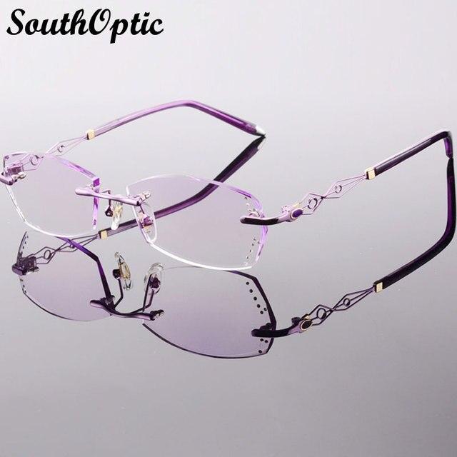 Красивый яркий титана полуободковые очки роскошный очки корейских женщин , включая 1.61 Asphereic тонированные HMC UV400 EMI линзы 58073
