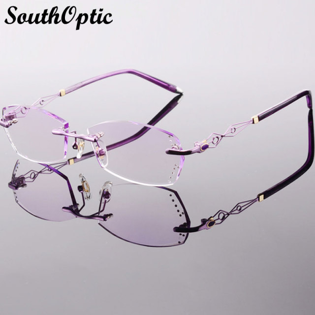 506d2bd35a Beautiful Bright Titanium Rimless Eyewear Luxury Glasses Korean Women  Including 1.61 Asphereic Tinted HMC UV400 EMI