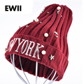 Women's new york caps Harajuku Winter Beanie hat beading five-pointed star pearl embroidery bonnet ladies knit hats for women