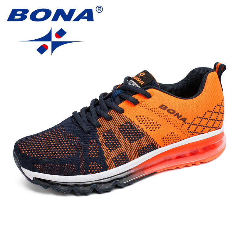BONA New Classics Style Men Running Shoes Air Cushion Out Sole Men Sneakers Mesh Upper Male