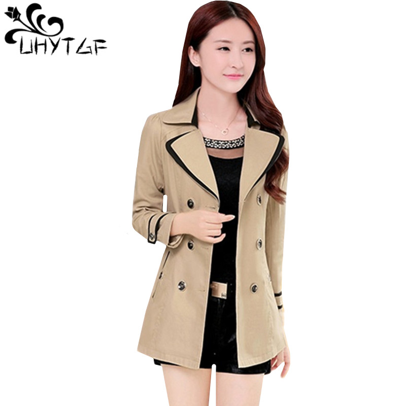 UHYTGF M-3XL Casual Short Jacket Women Fashion Thin Spring Autumn Windbreaker Coat Belt Double Breasted Slim Female Jacket 1152