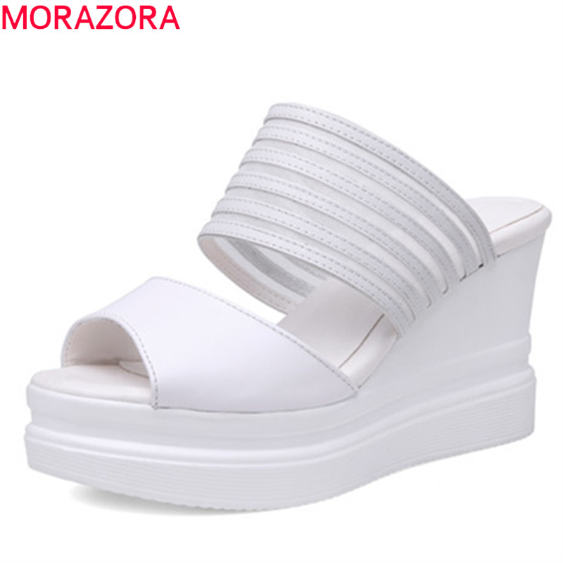 MORAZORA 2019 top quality sandals women cow leather shoes solid colors summer slipper rome sexy wedges platform shoes woman MORAZORA 2019 top quality sandals women cow leather shoes solid colors summer slipper rome sexy wedges platform shoes woman