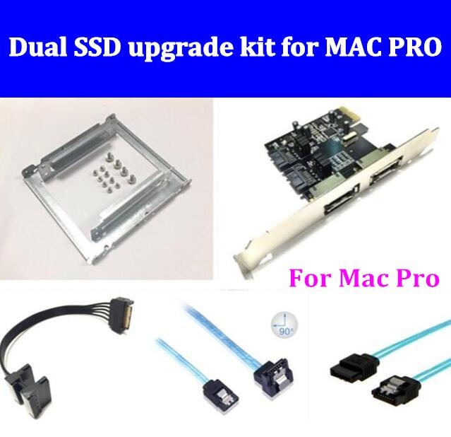 新しいデュアルssdアップグレードキットのためのmac pro 1.1 5.1 incluedを(デュアルssdトレイ/sataケーブル/sata3カード/sata3.0ハードディスクデータケーブル)  グループ上の パソコン & オフィス からの アドオンカード の中 1