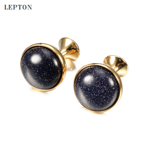 hot deal buy hot sale blue sand stone cufflinks for mens shirt cuff cuff links silver color lepton low-key luxury round sand stone cufflinks