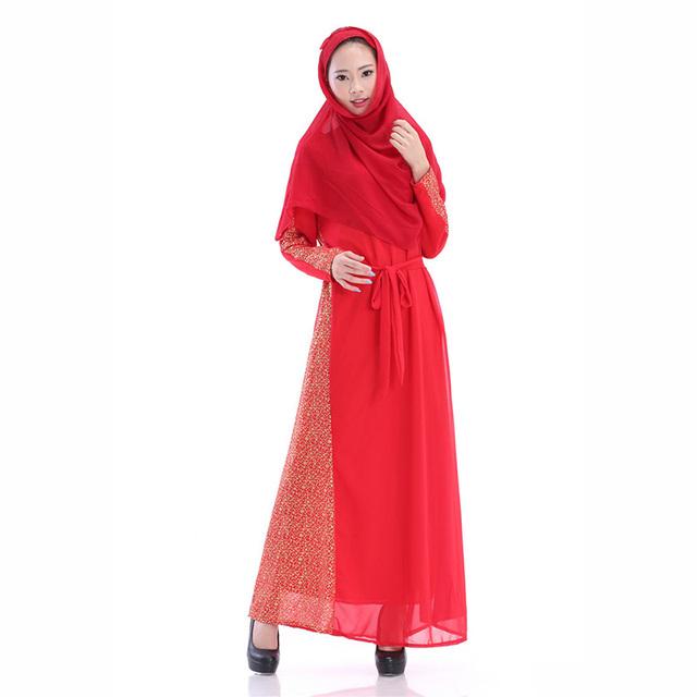 Vestido Largo Maxi de La Gasa Kaftan Islámico Jilbab Abaya Musulmán Vestido de Coctel de Las Mujeres