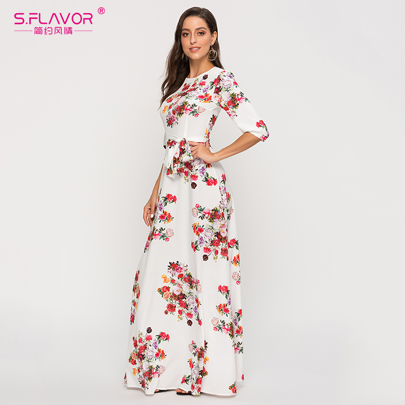 S.FLAVOR flower printed vintage dress women A-line 0-neck elegant long maxi dresses Elegant basic casual Autumn Winter dress