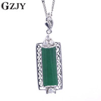 GZJY High Quality Green Stone Rectangle Pendant Necklace Fashion Jewelry Gifts For Women Birthday Party