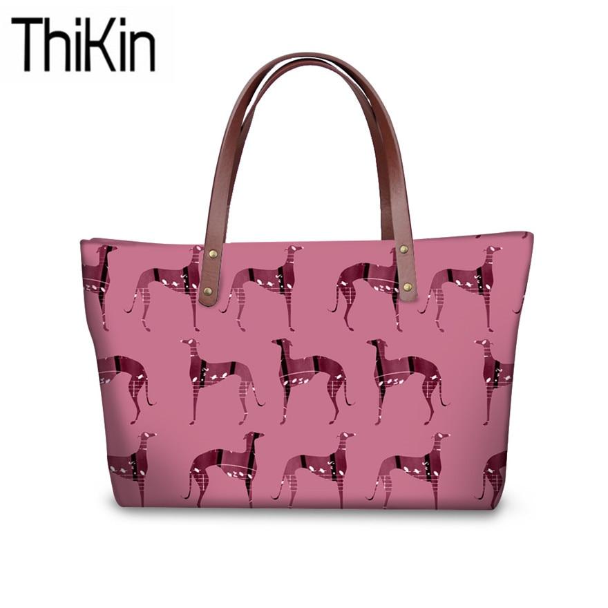 THIKIN Women's Bag For Greyhound Printing Shoulder Tote Bags Ladies Fashion Handbags Females Travel Organizer Hand Bag Sac A Dos