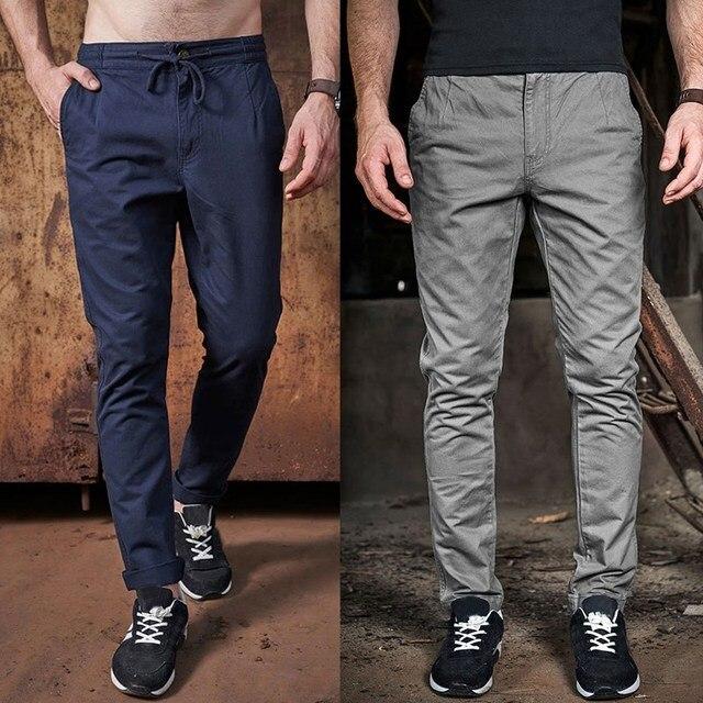MK 2017 Trend Men's Pants Casual Mid Waist Drawstring Long Trousers Men Business Work Wear Plus Size 30-40