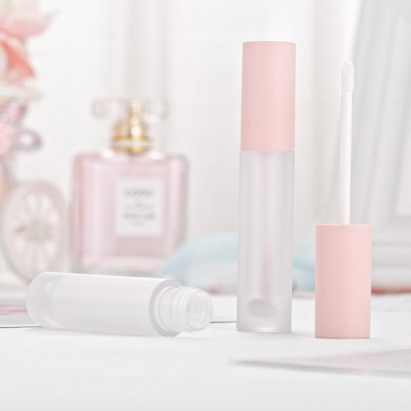 5 мл блеск для губ тюбики, пустой бальзам в бутылке, розовый колпачок, матовая прозрачная губная помада косметический упаковочный контейнер