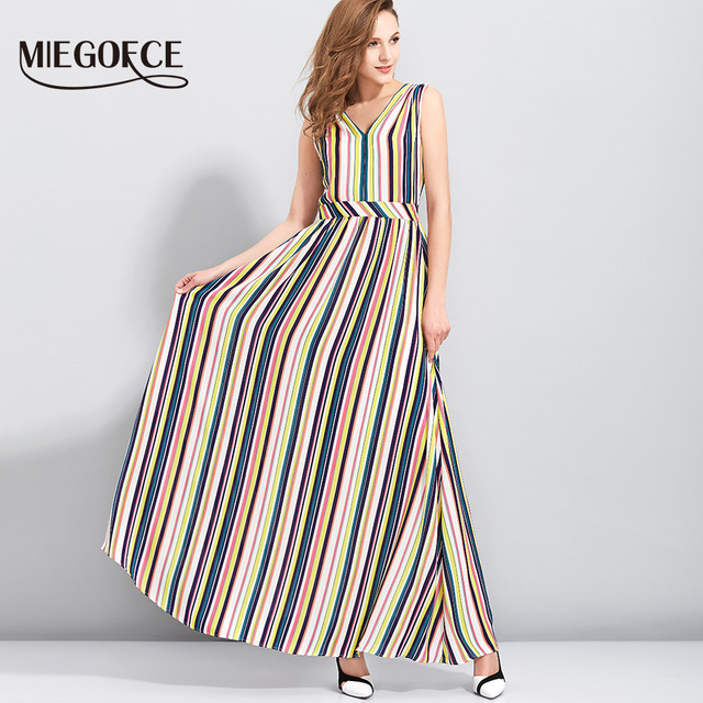 Women Casual Office Dress Boho Stripe Print Summer Sleeveless Dress Elegant Beach Sexy Deep V Neck Long Dress MIEGOFCE New Colle