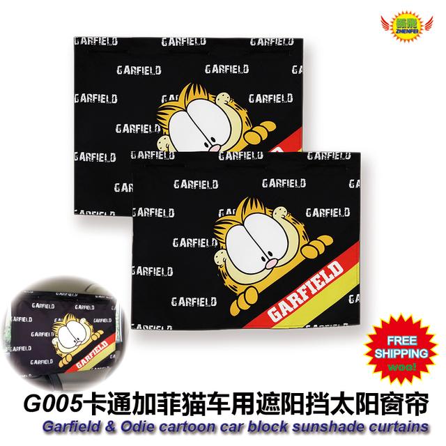 Accesorios del coche de dibujos animados Garfield coche ventana lateral sol persianas cortinas (1 Par) envío libre G003