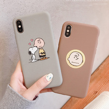PEANUTS Cartoon Charlie Brown and dog Soft Silicone Phone Case For Iphone 6 6S 7 8 Plus X Xs Xr Max matte candy case capas funda