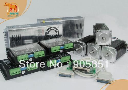 Best Sell! Wantai 4 Axis Nema 23 Stepper Motor Dual Shaft WT57STH115-3004B 425oz-in+Driver DQ542MA 4.2A CNC Router Plasma