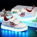 Светящаяся обувь для мальчиков и девочек с usb-зарядкой  Детские светящиеся кроссовки для мальчиков  обувь captain america