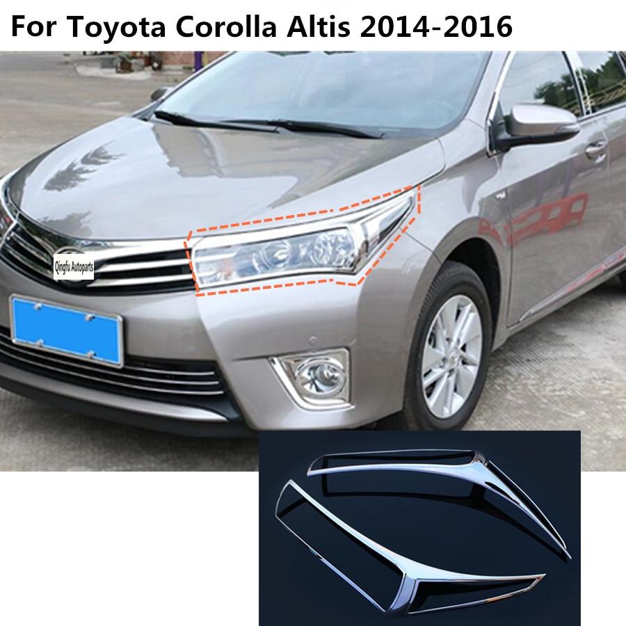 For toyota corolla altis 2014 2015 2016 car body front head light lamp hood molding frame stick abs chrome cover trim part 2pcs