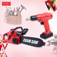 Zhorya Pretend Play Rotating Chainsaw with Sound Drill Toys Kids Tool Set Simulation Tools Repair Toys for Boys Children