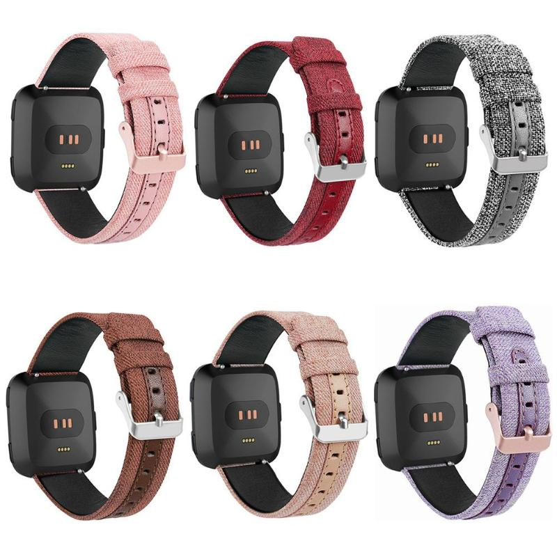 Smart Watchband Watchstrap Canvas Leather Adjustable Watch Band Bracelet Wrist Strap for Fitbit Versa Smart Watch все цены