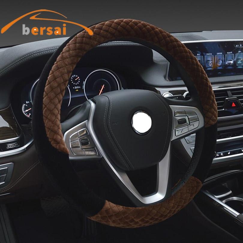 BERSAI 38cm Plush Car steering wheel cover For ford focus peugeot 206 Auto a4 q7 golf