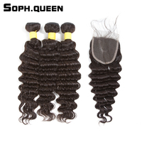 Sophqueen Brazilian Remy Hair Deep Wave 3 Bundles With Closure 4 4 Natural Color For Hair